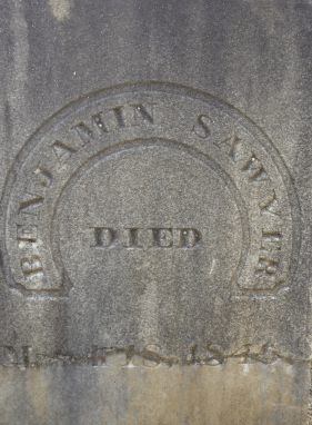 The final resting place of one of Nelson's earliest residents: Benjamin Sawyer aged 88
