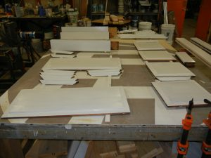 Pieces repaired, primed and ready to be reassembled